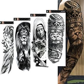 Недорогие Временные татуировки-4 шт. / Лот полный рука временные татуировки наклейки для мужчин, женщин черный череп смерти супер большой большой водонепроницаемый поддельные татуировки рукава