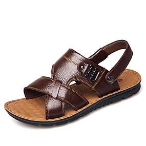 baratos Sandálias Masculinas-Homens Sapatos Confortáveis Microfibra Primavera / Verão Sandálias Preto / Marron / Khaki