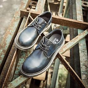 baratos Oxfords Masculinos-Homens Sapatos de couro Couro Primavera Oxfords Preto / Vermelho / Azul
