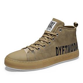 baratos Tênis Masculino-Homens Sapatos Confortáveis Jeans Outono & inverno Casual / Formais Tênis Respirável Slogan Preto / Khaki