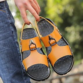 baratos Sandálias Masculinas-Homens Sapatos Confortáveis Microfibra Primavera Verão Sandálias Preto / Branco / Amarelo