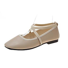 voordelige Damesschoenen met platte hak-Dames Platte schoenen Platte hak Vierkante Teen PU Zoet Lente & Herfst Zwart / Beige