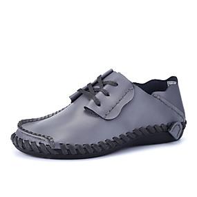 baratos Oxfords Masculinos-Homens Sapatos Confortáveis Couro Ecológico Outono Casual Oxfords Não escorregar Preto / Castanho Claro / Castanho Escuro