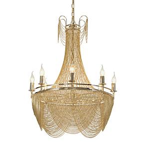 billige Lysekroner-8 lys luksuriøs lysekrone / alunmium stream pendellamper / gull / sølv elektroplettering for butikk stue restaurant / led5w e12 / 14 varmt hvitt lys inkludert