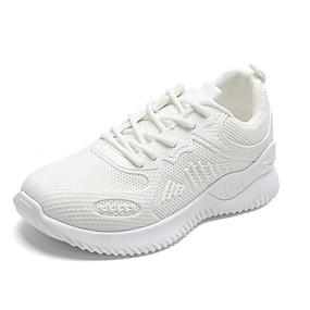 baratos Sapatos Esportivos Femininos-Mulheres Tênis Sem Salto Ponta Redonda Couro Sintético / Tissage Volant Primavera Verão / Outono & inverno Preto / Branco / Bege