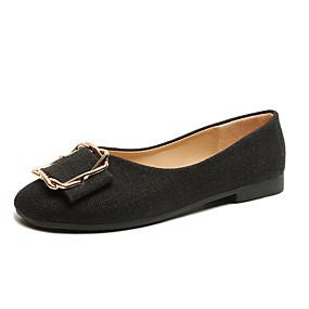 voordelige Damesschoenen met platte hak-Dames Platte schoenen Lage hak Vierkante Teen Canvas Lente & Herfst Zwart / Beige