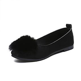 voordelige Damesschoenen met platte hak-Dames Platte schoenen Platte hak Gepuntte Teen Imitatiebont Informeel / Chinoiserie Wandelen Lente & Herfst / Herfst winter Zwart / Kameel / Grijs