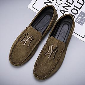 baratos Sapatilhas e Mocassins Masculinos-Homens Sapatos de Condução Microfibra Outono Vintage Mocassins e Slip-Ons Não escorregar Preto / Verde Escuro / Cinzento