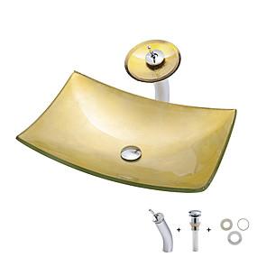 abordables Eviers-Lavabo de Salle de Bain / Robinet de Salle de Bain / Bague de Fixation de Salle de Bain contemporain / Antique - Verre Trempé Rectangulaire Vessel Sink