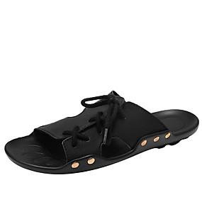 baratos Sandálias e Chinelos Masculinos-Homens Sapatos Confortáveis Couro Ecológico Verão Chinelos e flip-flops Preto / Amarelo / Marron