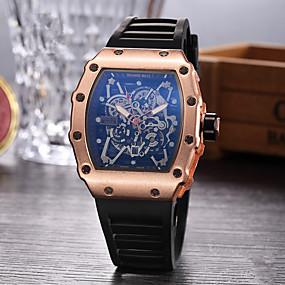 baratos Desconto Relógios-Homens Relógio Esportivo Relógio Esqueleto Relógio de Pulso Quartzo Borracha Preta Relógio Casual Analógico Amuleto - Preto Prata Ouro Rose
