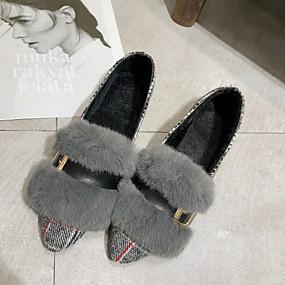 voordelige Damesschoenen met platte hak-Dames Platte schoenen Platte hak Gepuntte Teen Rubber / PU Brits Wandelen Herfst winter Bruin / Grijs / Gestreept