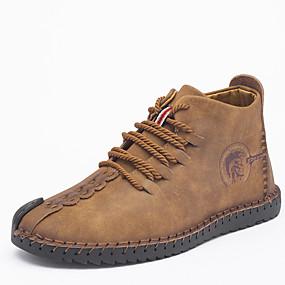 baratos Botas Masculinas-Homens Sapatos Confortáveis Couro Sintético Outono & inverno Botas Respirável Preto / Laranja / Khaki