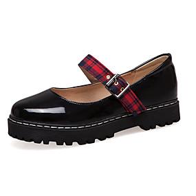 voordelige Damesschoenen met platte hak-Dames Platte schoenen Plateau Ronde Teen PU Vintage Lente zomer Zwart / Beige