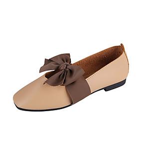 voordelige Damesschoenen met platte hak-Dames Platte schoenen Verborgen hiel Ronde Teen Strik PU Klassiek / minimalisme Lente zomer / Herfst winter Zwart / Amandel / Beige