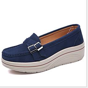 voordelige Damesschoenen met platte hak-Dames Platte schoenen Creepers Ronde Teen Suède Zomer Zwart / Amandel / Rood