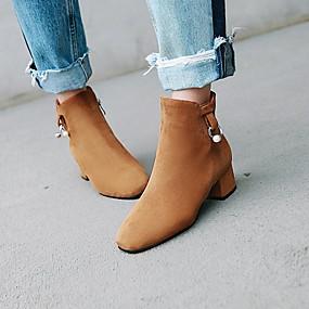 billige Mote Boots-Dame Støvler Tykk hæl Rund Tå Perle Semsket lær Ankelstøvler Fritid Høst vinter Svart / Brun / Beige