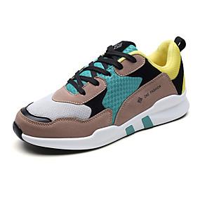 baratos Tênis Masculino-Homens Sapatos Confortáveis Couro Ecológico Primavera Verão Casual / Colegial Tênis Corrida / Fitness Respirável Preto / Marron / Cinzento