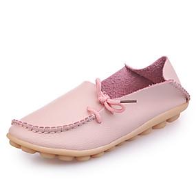 voordelige Damesinstappers & loafers-Dames Loafers & Slip-Ons Platte hak Ronde Teen PU / Synthetisch Herfst / Lente zomer Zwart / Wit / Roze