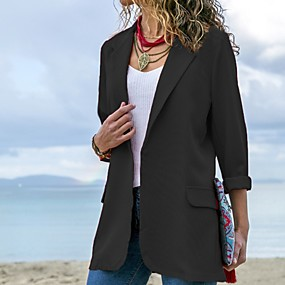 cheap Clearance-Women's Blazer, Solid Colored Notch Lapel Polyester Black / Red / Royal Blue