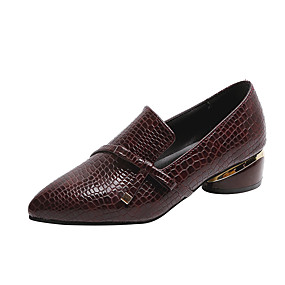 voordelige Damesinstappers & loafers-Dames Loafers & Slip-Ons Blokhak Gepuntte Teen Lakleer Lente & Herfst Zwart / Bordeaux