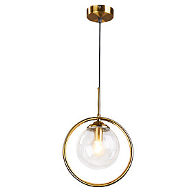 abordables Plafonniers-Cercle Anneau Lampe suspendue Lumière d'ambiance Plaqué Métal Verre 110-120V / 220-240V