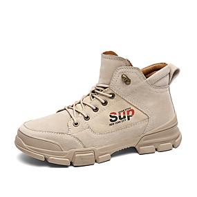 זול מגפיים לגברים-בגדי ריקוד גברים Fashion Boots קנבס / עור חזיר חורף יום יומי / בריטי מגפיים טיפוס / הליכה שמור על חום הגוף מגפונים\מגף קרסול שחור / חאקי