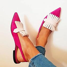 voordelige Damesschoenen met platte hak-Dames Platte schoenen Platte hak Gepuntte Teen PU Kuitlaarzen Zomer Zwart / Bruin / Zilver