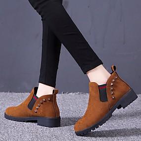 billige Mote Boots-Dame Støvler Lav hæl Rund Tå PU Ankelstøvler Klassisk / minimalisme Vår & Vinter / Høst vinter Svart / Brun / Militærgrønn / Fest / aften / Fargeblokk