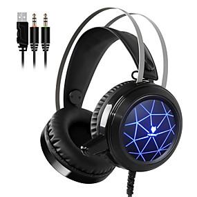 voordelige Gaming-nubwo n1 gaming hoofdtelefoon diepe basgame headset oortelefoon bedraad met microfoon spraakbesturing led licht voor computer pc promot