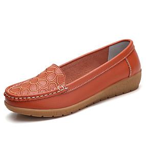 voordelige Damesinstappers & loafers-Dames Loafers & Slip-Ons Sleehak Ronde Teen Leer Informeel Wandelen Lente & Herfst Zwart / Wit / Oranje