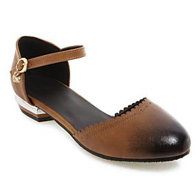 voordelige Damesschoenen met platte hak-Dames Platte schoenen Blok hiel Ronde Teen PU Zomer Zwart / Bruin / Geel