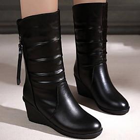 billige Mote Boots-Dame Støvler Flat hæl Rund Tå PU Støvletter Høst vinter Svart