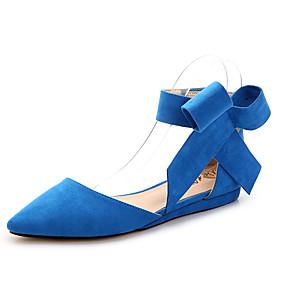 voordelige Damesschoenen met platte hak-Dames Platte schoenen Platte hak Gepuntte Teen Strik Suède Zoet Lente zomer Zwart / Rood / Blauw