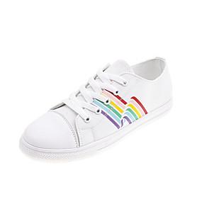 voordelige Damessneakers-Dames Sneakers Platte hak Ronde Teen Canvas Informeel Herfst Zwart / Wit / Kleurenblok