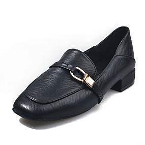voordelige Damesschoenen met platte hak-Dames Platte schoenen Blokhak Ronde Teen PU Herfst Zwart / Beige