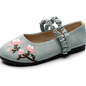 voordelige Damesschoenen met platte hak-Dames Platte schoenen Platte hak Ronde Teen Linnen Zomer Zwart / Rood / Blauw