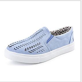 voordelige Damesinstappers & loafers-Dames Loafers & Slip-Ons Platte hak Ronde Teen Suède Zomer Blauw / Roze