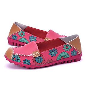 voordelige Damesinstappers & loafers-Dames Loafers & Slip-Ons Platte hak Vierkante Teen Leer Zomer Fuchsia / Oranje / Geel