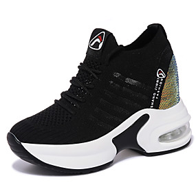 voordelige Damessneakers-Dames Sneakers Sleehak Ronde Teen Tricot Sportief / minimalisme Lente & Herfst / Herfst winter Zwart / Wit