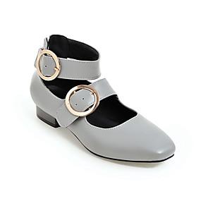 voordelige Damesschoenen met platte hak-Dames Platte schoenen Blokhak Vierkante Teen PU minimalisme Lente zomer Zwart / Geel / Grijs