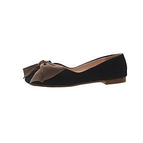 voordelige Damesschoenen met platte hak-Dames Platte schoenen Platte hak Vierkante Teen Strik PU minimalisme Herfst Zwart / Amandel / Roze