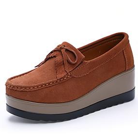 voordelige Damesinstappers & loafers-Dames Loafers & Slip-Ons Creepers Ronde Teen Leer Herfst winter Zwart / Wijn / Oranje