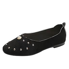 voordelige Damesschoenen met platte hak-Dames Platte schoenen Platte hak Ronde Teen Imitatieparel PU Informeel Herfst Zwart / Beige