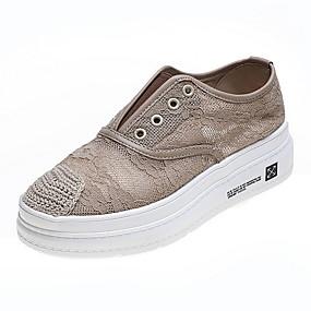 voordelige Damessneakers-Dames Sneakers Platte hak Ronde Teen Leer Zomer Zwart / Khaki / Gestreept