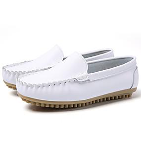 voordelige Damesinstappers & loafers-Dames Loafers & Slip-Ons Sleehak Ronde Teen Leer / Tissage Volant Informeel / minimalisme Herfst winter Zwart / Wit / Geel / Kleurenblok