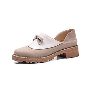 voordelige Damesinstappers & loafers-Dames Loafers & Slip-Ons Lage hak Ronde Teen Strik PU / Synthetisch Lente & Herfst Zwart / Amandel / Kleurenblok