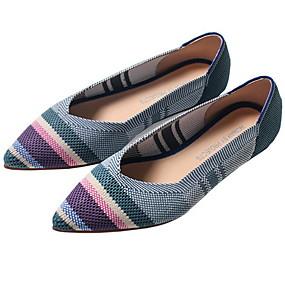 voordelige Damesinstappers & loafers-Dames Loafers & Slip-Ons Platte hak Gepuntte Teen Canvas Zomer Luipaard / Blauw / Grijs