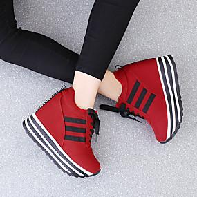 voordelige Damessneakers-Dames Sneakers Creepers Ronde Teen Suède Informeel / Studentikoos Lente & Herfst / Herfst winter Zwart / Wit / Rood