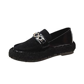 voordelige Damesinstappers & loafers-Dames Loafers & Slip-Ons Platte hak Ronde Teen Imitatiebont / PU Informeel Herfst Zwart / Bruin